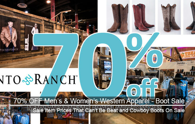 Up To 70% Off Men's& Women's Western Sale Apparel - Boot Sale Also