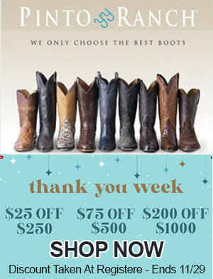 Pinto Ranch Thank You Sale on Western Wear and Cowboy Boots
