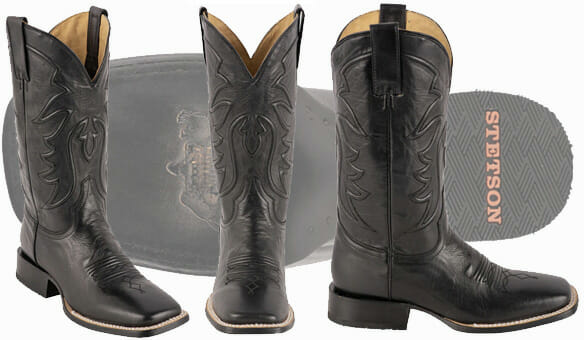 Stetson Mens Ames Burnished Black Calf Boots