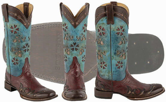 Stetson Womens Arrow Turquoise and Red Wingtip Boots