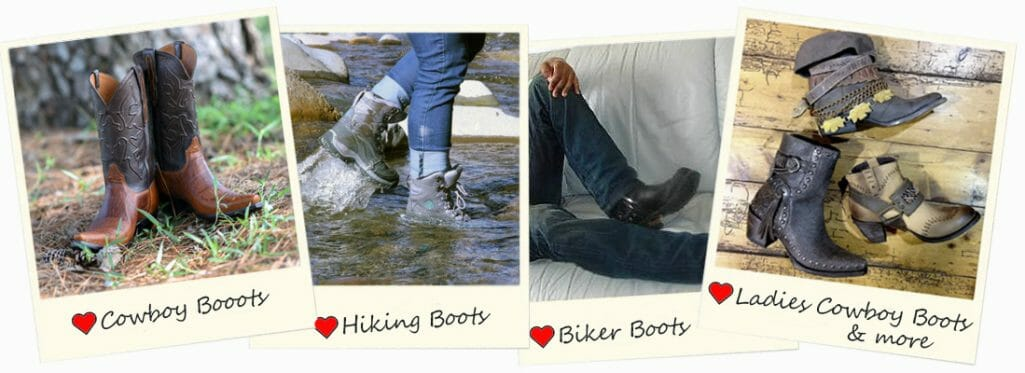 We Heart Handmade Boots Cowboy Boots - Hiking Boots - Biker Boots & Ladies Cowgirl Boots