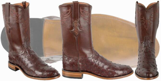Tony Lama Signature Series Men's Kango Tobacco Full-Quill Ostrich Roper Boots
