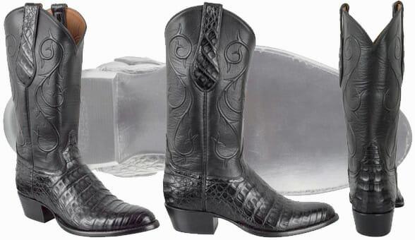 Tony Lama Signature Series Men's Black Caiman Belly Boots